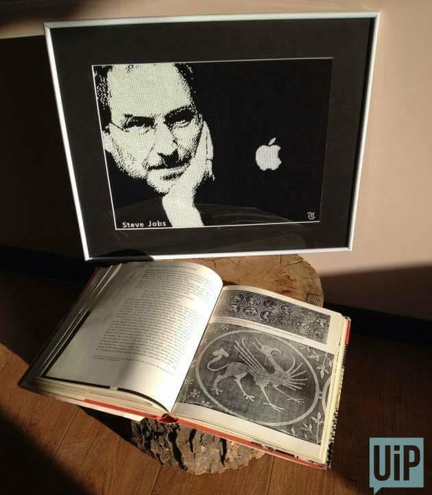"""Робота """"Куди зникло яблуко Стіва Джобса"""", вишита в техніці Glow Art"""