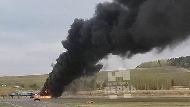 В России загорелся истребитель
