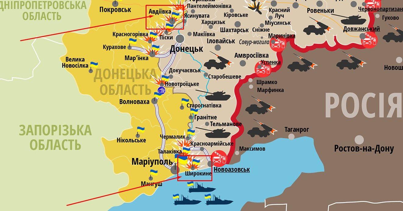 Ситуація на сході України. Стрілками вказані Авдіївка і Широкине (зображення клікабельне)