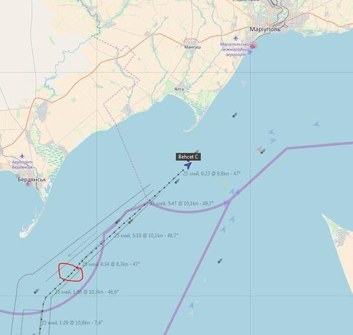 25 травня катер Прикордонної служби берегової охорони ФСБ РФ в 7 милях від українського узбережжя біля Бердянська зупинив та провів досмотр турецького балкера BEHCET C