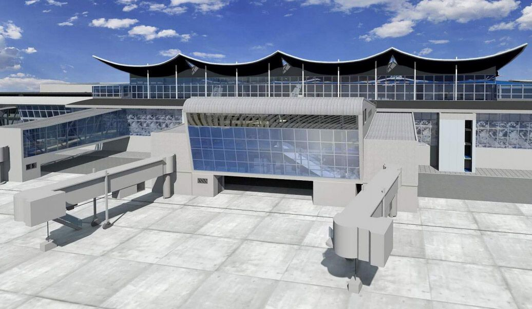 Проект расширения зоны контроля трансферных пассажиров в терминале D аэропорта Борисполь. Графика из документации, загруженной в систему Prozorro