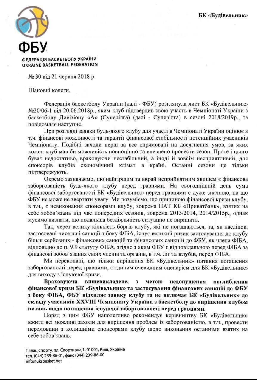 """""""Будивельник"""" не пустили в новый сезон ЧУ Суперлиги Пари-Матч"""