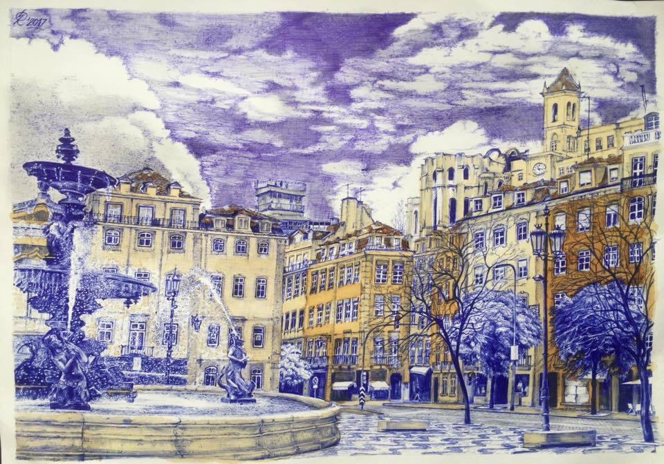 Рисунок Романа Сущенко. Шариковая ручка, шелуха лука, карандаш, чай, кетчуп
