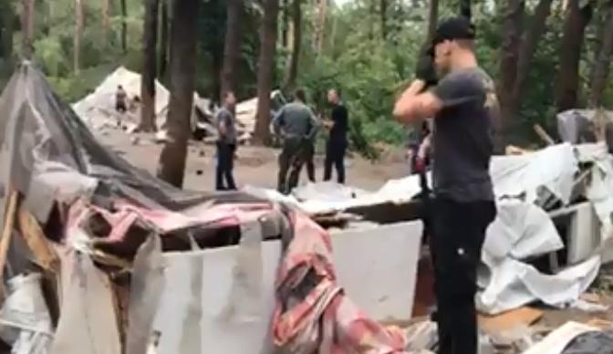 """""""Нацдружины"""" жестко разнесли лагерь ромов в Киеве"""