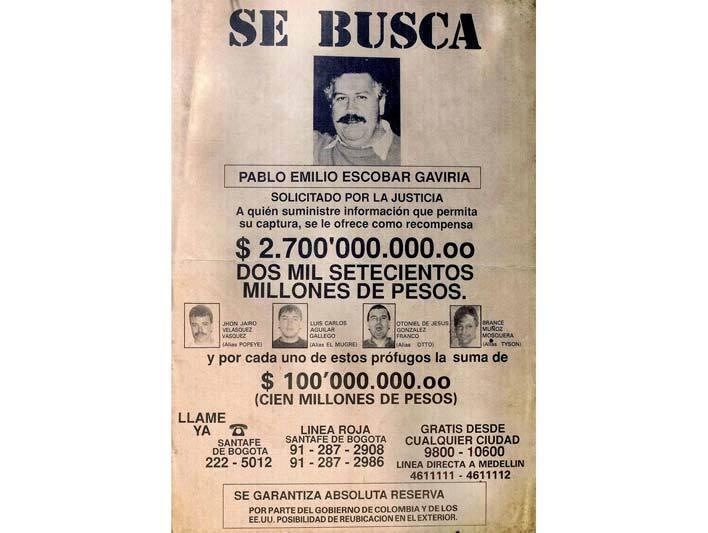 Оголошення про розшук Пабло Ескобара і його поплічників