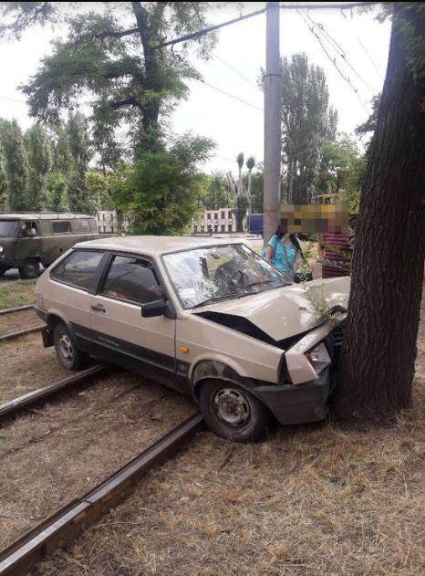 В Запорожье автомобиль влетел в дерево