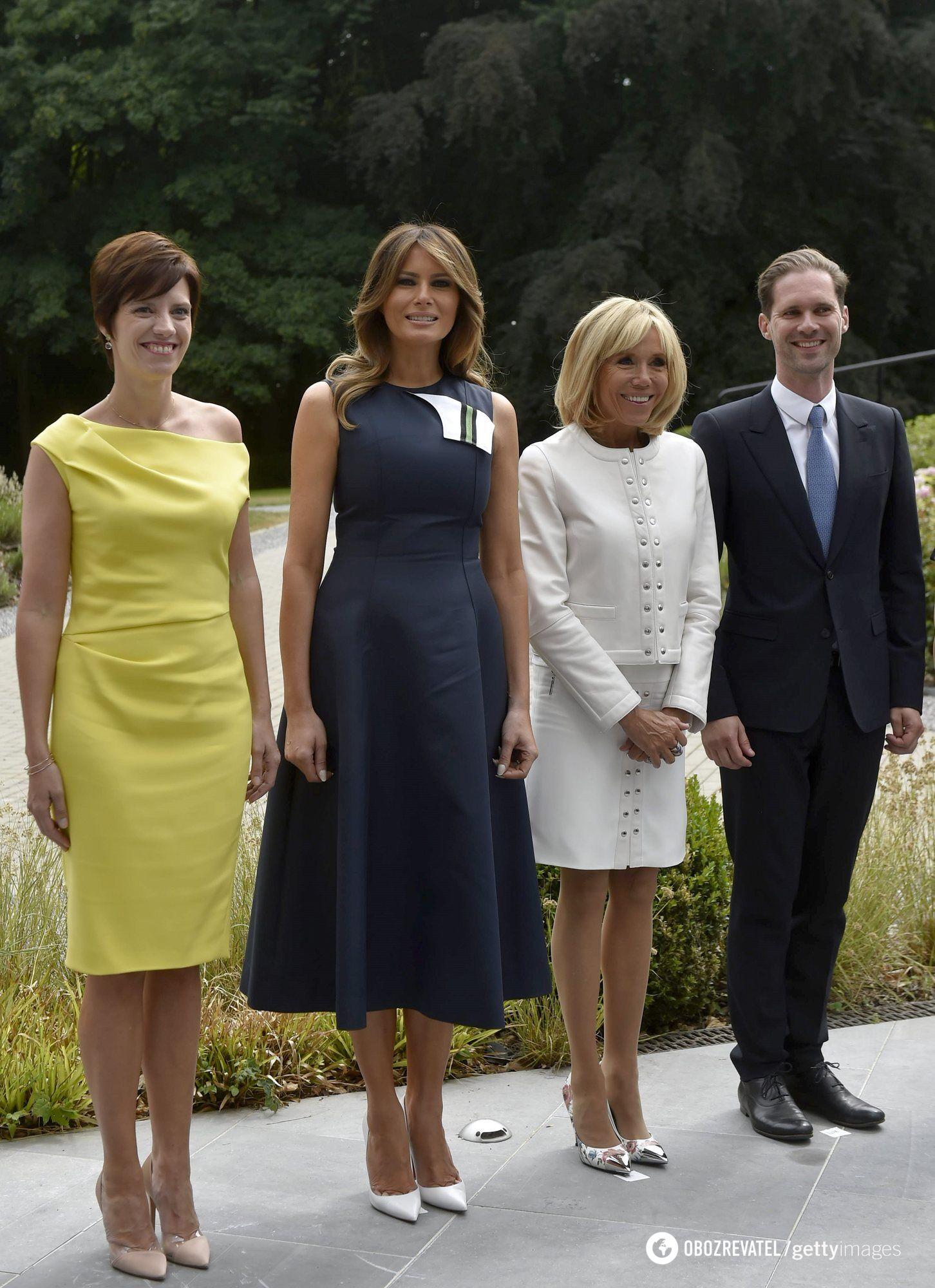 Меланія Трамп, Бріжит Макрон, прем'єр-міністр Люксембургу Ксав'є Бетель і Амелі Дербаудренг'єн (дружина бельгійського прем'єра Шарля Мішеля).