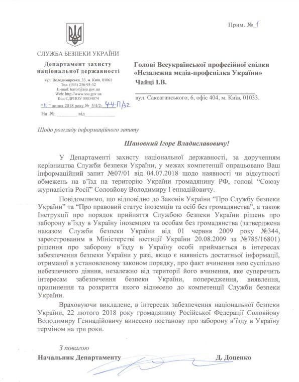 Пропагандисту РФ запретили въезд в Украину