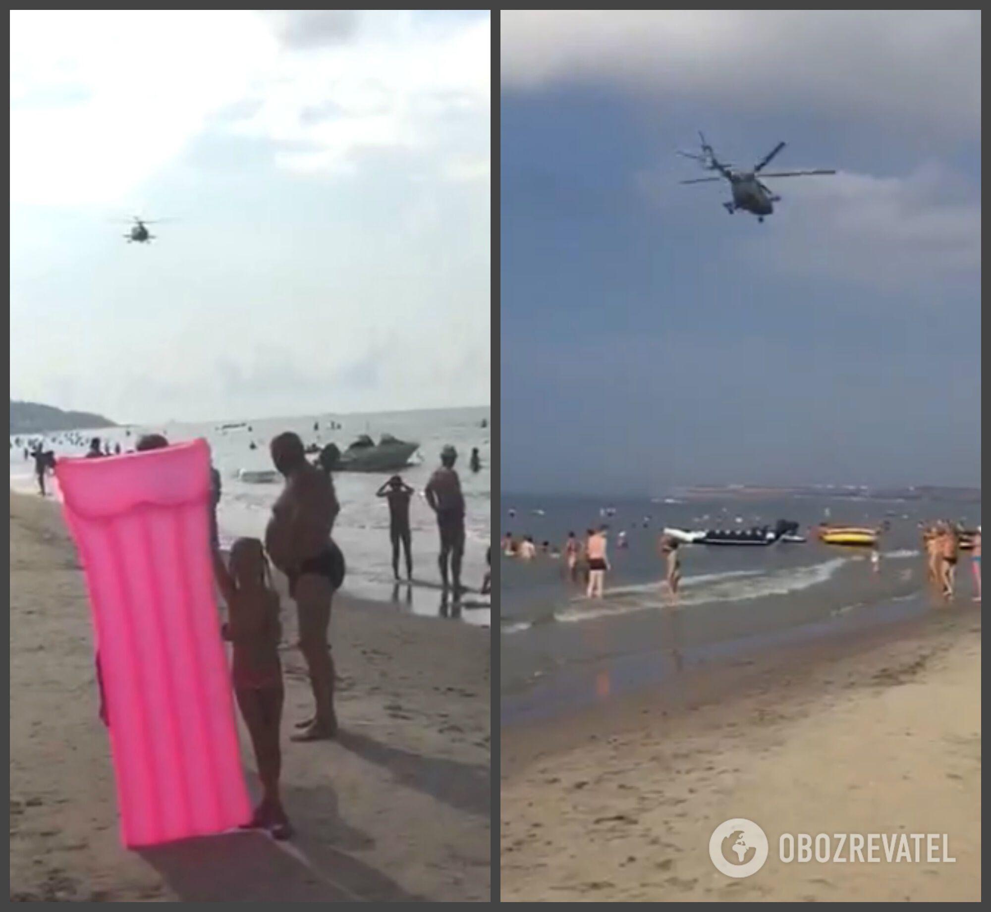 Над украинским пляжем засняли боевой вертолет: эксклюзивное видео