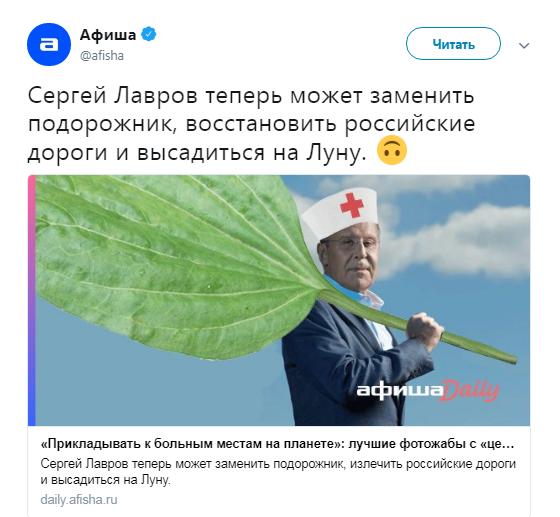 """В сети жестко высмеяли """"целебное"""" фото Лаврова"""