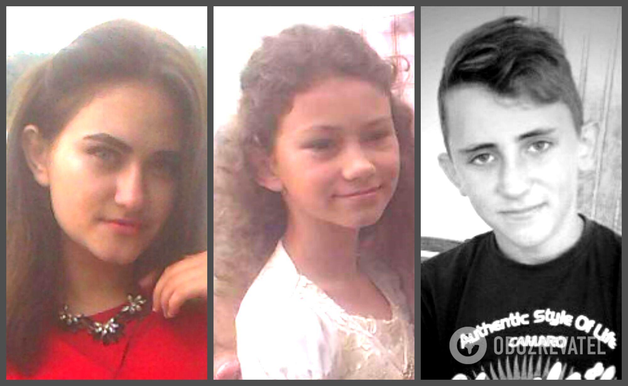 Зліва направо: 19-річна Олена та 10-річна Алевтина, і їхній двоюрідний 14-річний брат Павло. Хлопчина загинув на місці.