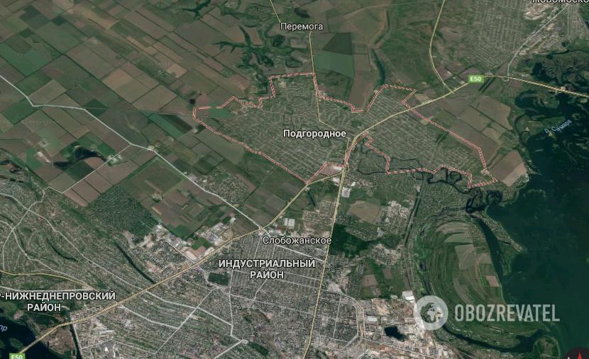 Місто Підгородне розташоване в декількох кілометрах від Дніпра