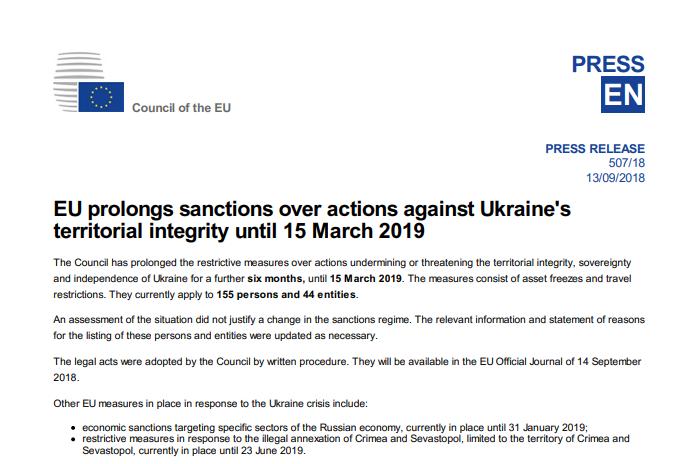 ЕС продлил санкции против России из-за Украины: кто попал под удар