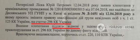 Полиция отказалась открыть статью 296 УК (хулиганство)