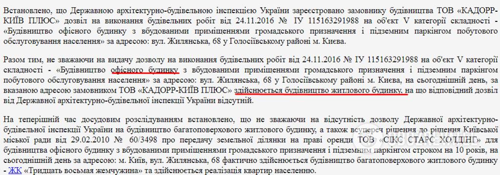 Досудебным расследованием установлено, что на Жилянской, 68 строят жилой дом