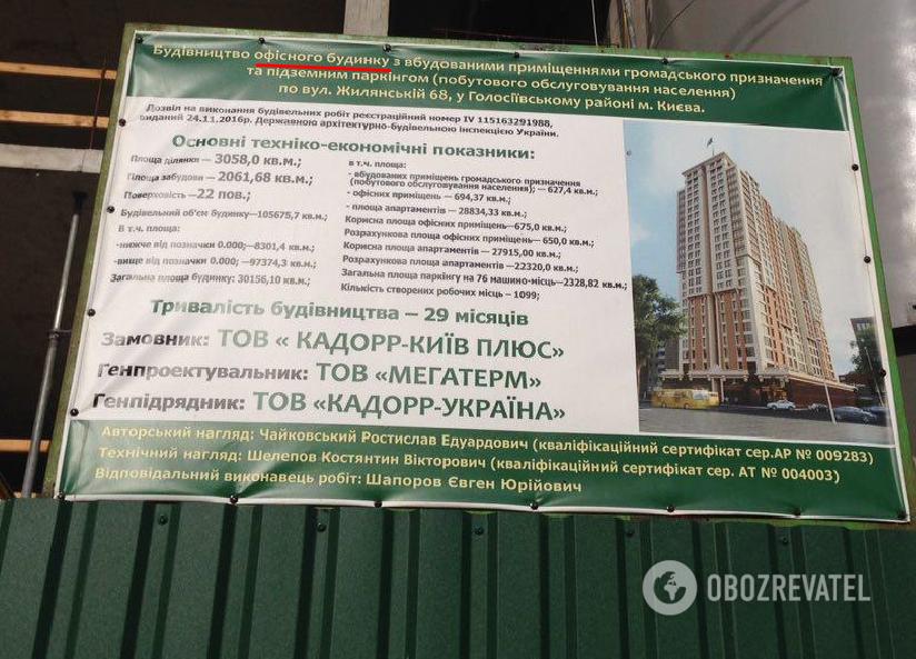 В паспорте застройщик указывает строительство офисного здания