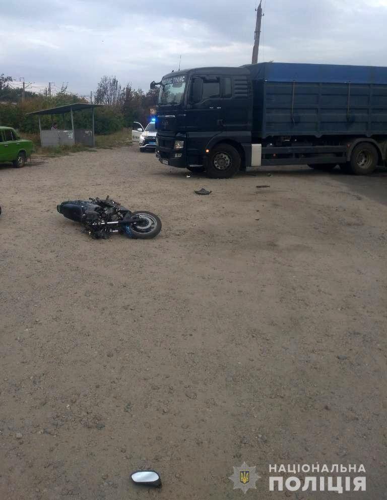 В Запорожской области столкнулись грузовик и мотоцикл: пострадали дети