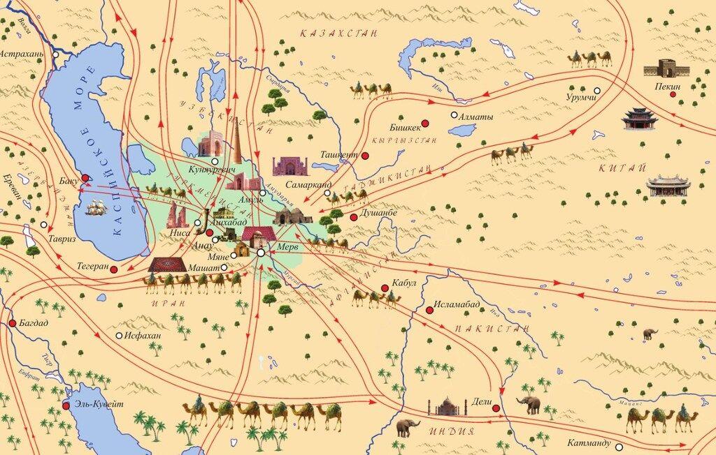 Карта Великого Шовкового шляху