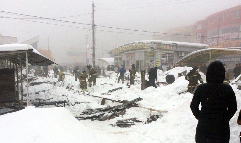 Обрушение торгового ряда в Макеевке
