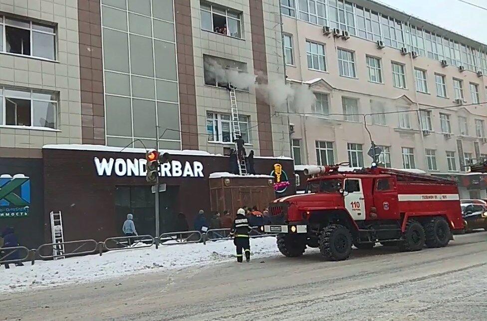 Пожар в бизнес-центре в Перми