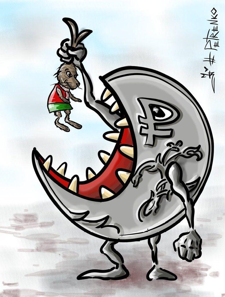 ''Братське'' поглинання РФ Білорусі показали в яскравій карикатурі