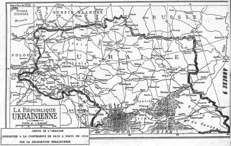 Карта Української республіки, представлена українською делегацією на Паризькій мирній конференції, 1919 рік