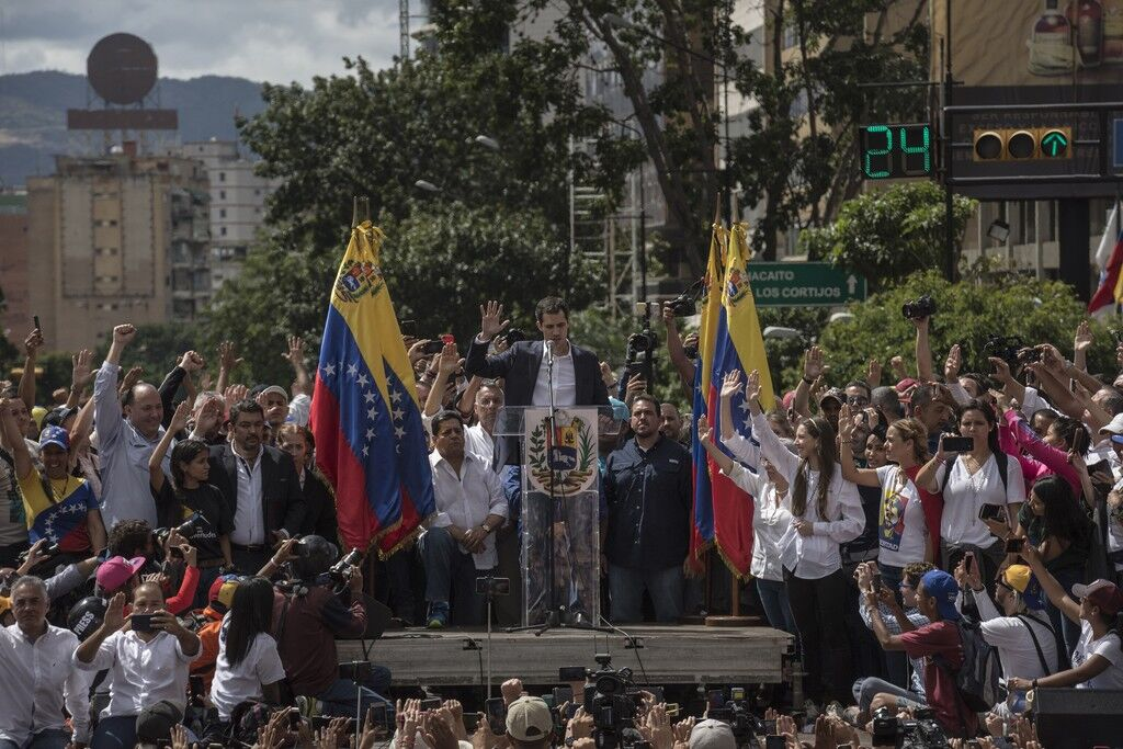 Хуан Гуайдо під час мітингу опозиції