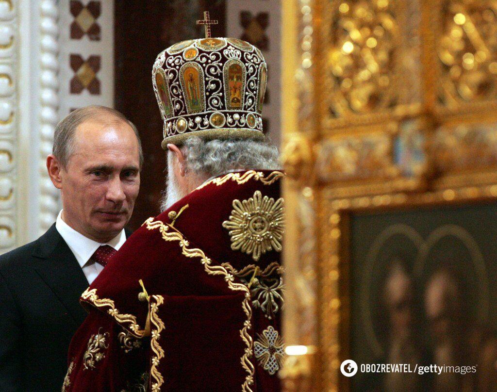 Президент Росії Володимир Путін і патріарх РПЦ Кирил