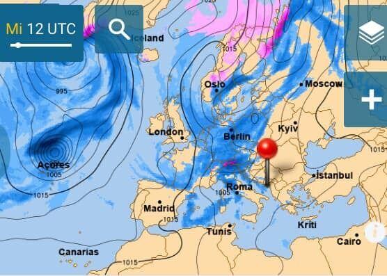 Прогноз погоди. Карта