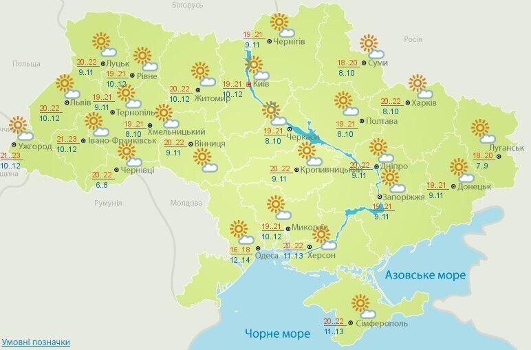 Погода в Україні на 14 жовтня