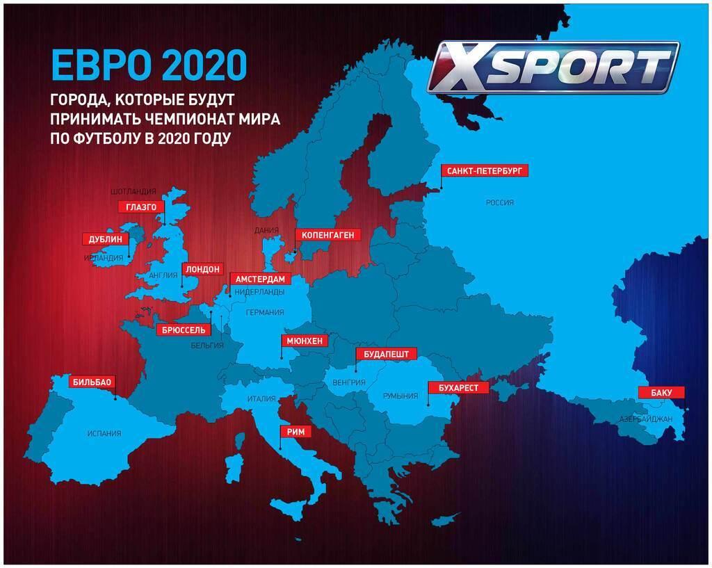 Карта міст, що прийматимуть матчі Євро-2020