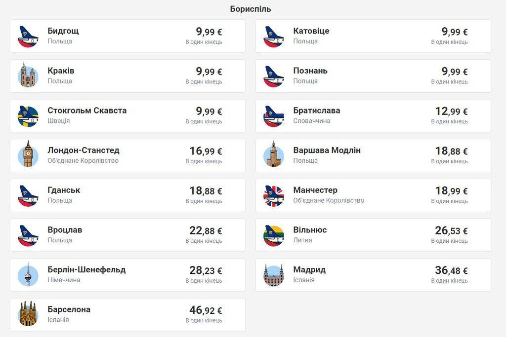 Акционные рейсы из Киева