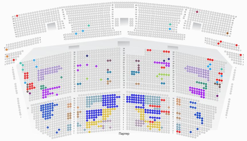 Раскупленные места в зале (обозначены серым цветом) по состоянию на 17 октября
