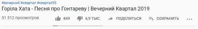 """Дизлайки под видео """"Вечернего квартала"""""""