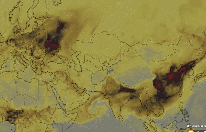 Ситуация утром в понедельник, 21 октября. Слева – Украина, справа – Китай и Индия