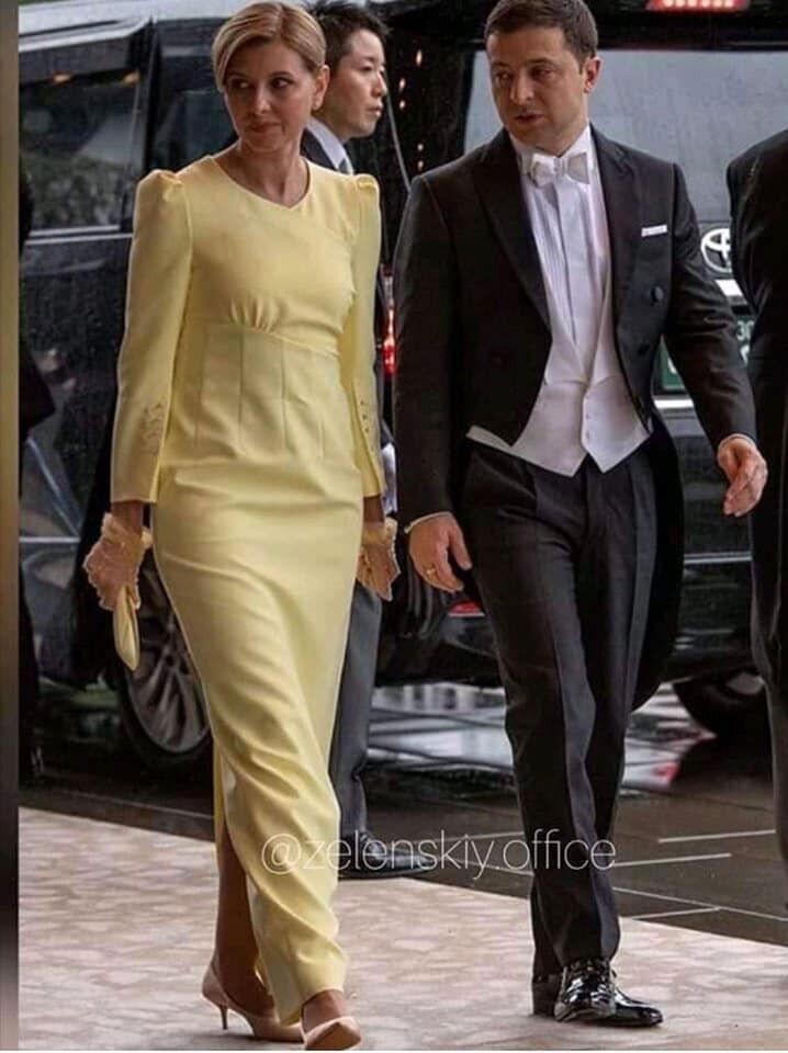 Елена Зеленская в желтом платье в Японии