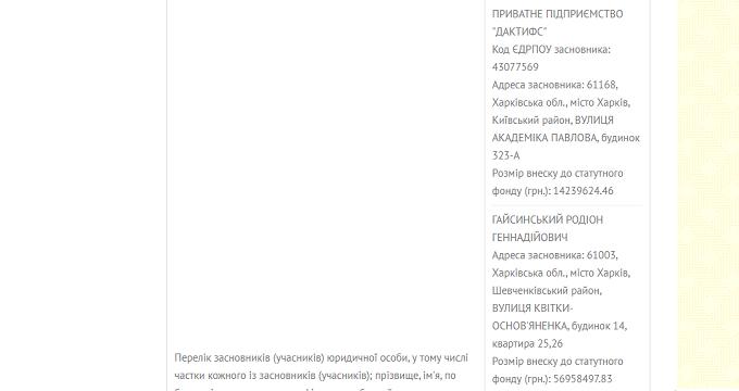 Скріншот із реєстру Мін'юсту