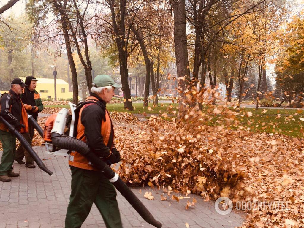 Ось так прибирають листя в парках Дніпра