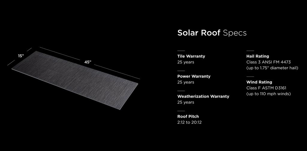 """Технические параметры """"черепицы"""" Solarglass Roof"""