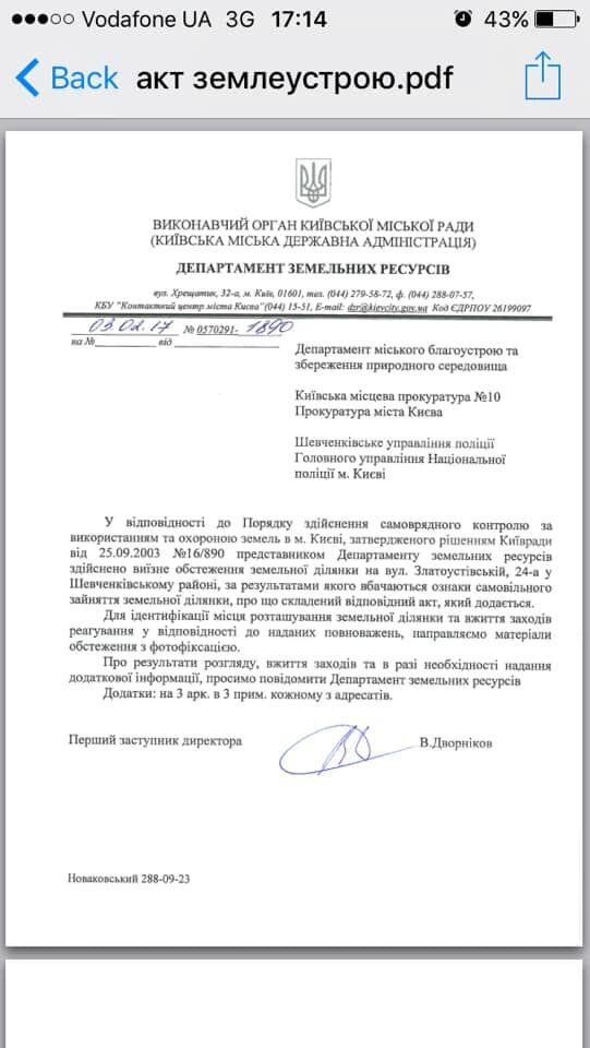 Документ с информацией о земельном участке