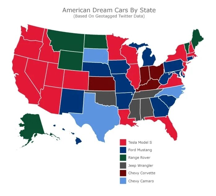 Карта предпочтений американцев