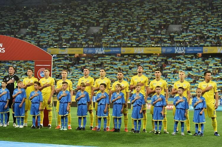Сборная Украины перед одним из матчей отбора Евро-2020