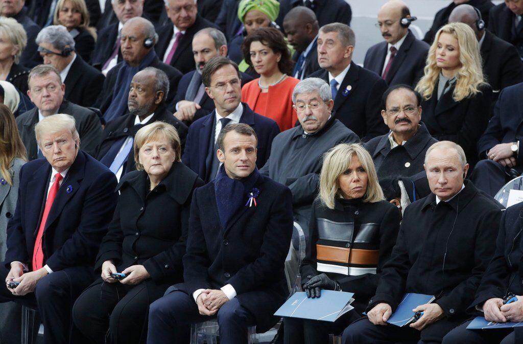 Владимир Путин, Дональд Трамп, Еммануель Макрон и Ангела Меркель
