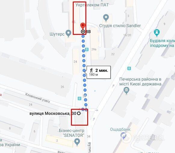 Менее чем в 200 м от незаконной стройки находится Печерское райуправление полиции Киева