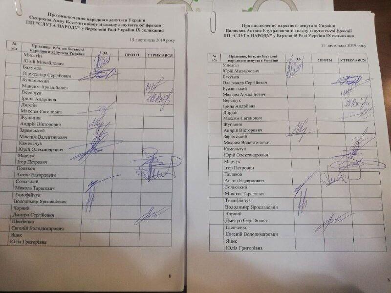 """Списки про виключення """"слуг народу"""" з фракції"""