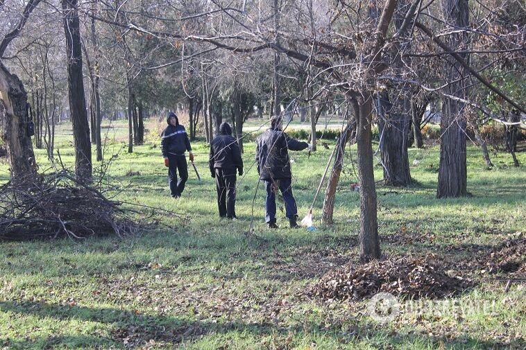 В Днепре должников-алиментщиков заставили убирать парки