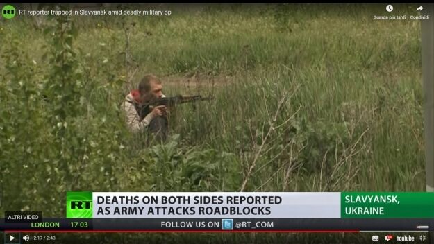 Проросійський терорист, ймовірний вбивця Роккеллі на позиції в траві біля переїзду і фабрики
