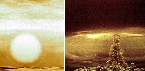 """Вспышка и гриб после взрыва """"Царь-бомбы"""" 30 октября 1961 года"""
