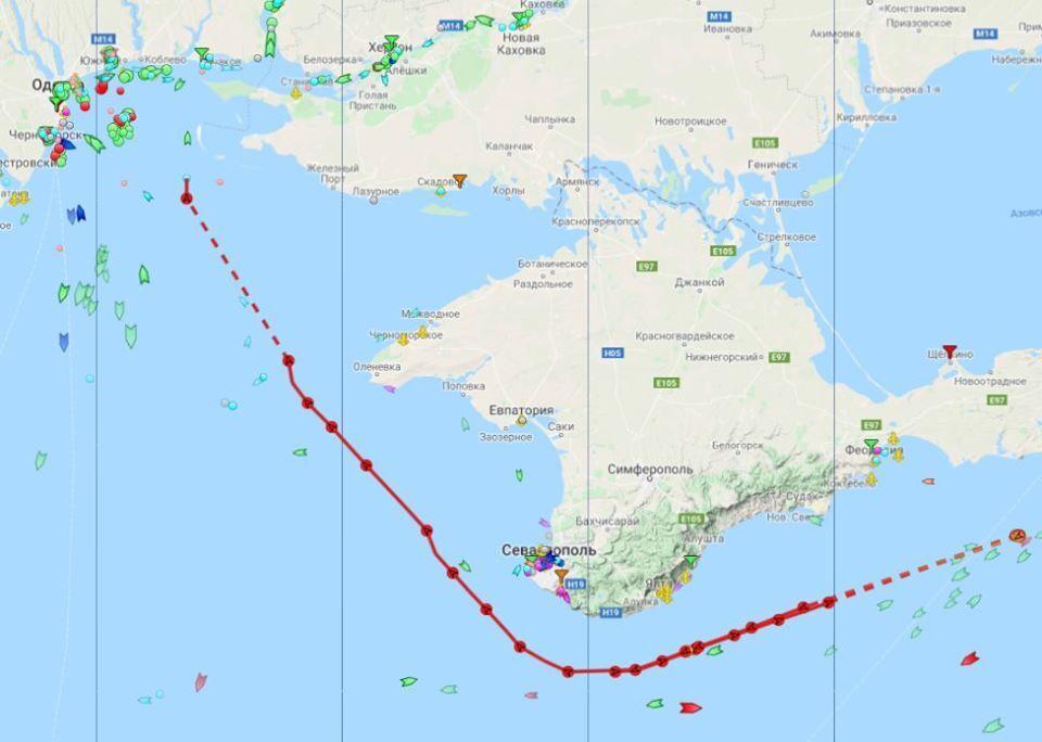 Карта маршрута кораблей