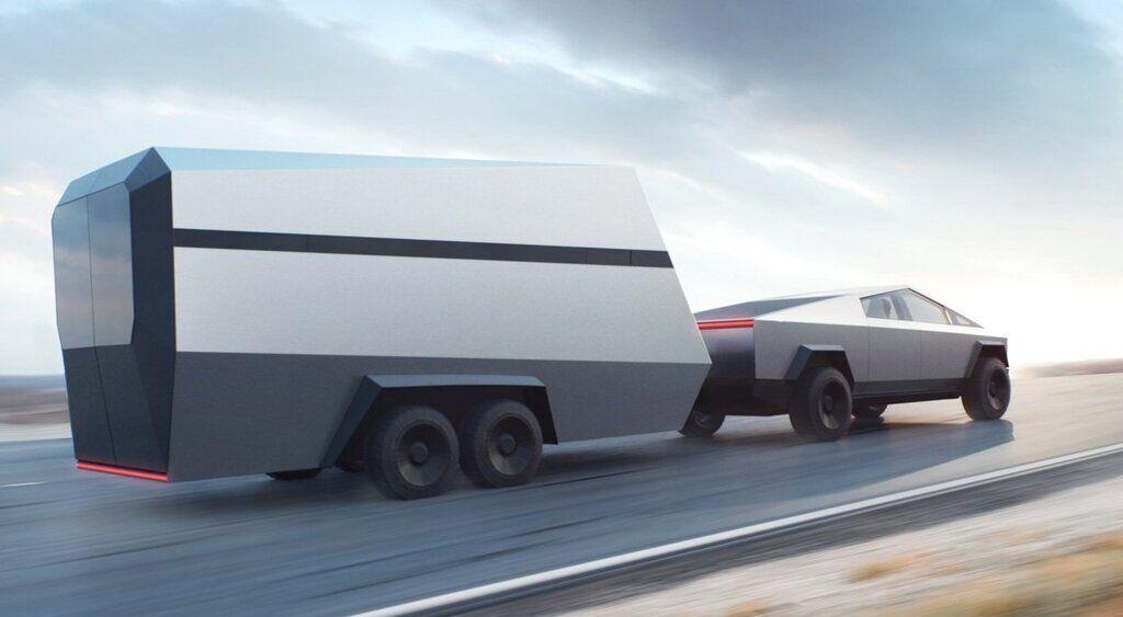 Электрический пикап Tesla Cyber Truck с прицепом